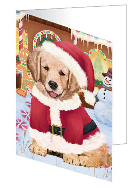 Christmas Gingerbread House Candyfest Golden Retriever Dog Note Card NCD73535