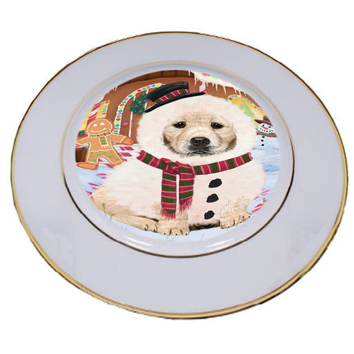 Christmas Gingerbread House Candyfest Golden Retriever Dog Porcelain Plate PLT54690