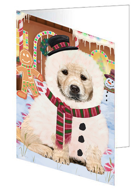 Christmas Gingerbread House Candyfest Golden Retriever Dog Note Card NCD73538