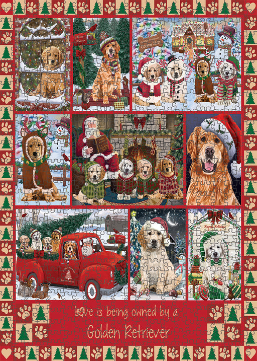 Love is Being Owned Christmas Golden Retriever Dogs Puzzle with Photo Tin PUZL99380