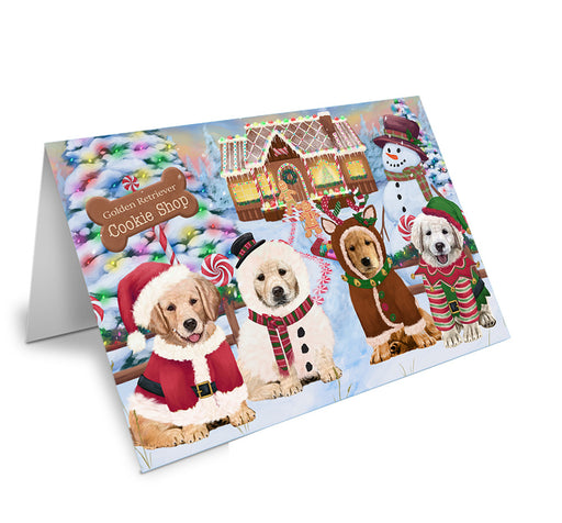 Holiday Gingerbread Cookie Shop Golden Retrievers Dog Note Card NCD73718