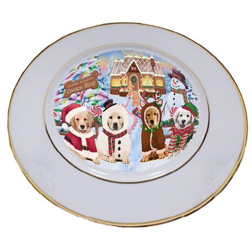 Holiday Gingerbread Cookie Shop Golden Retrievers Dog Porcelain Plate PLT54750