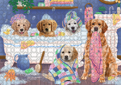 Rub A Dub Dogs In A Tub Golden Retrievers Dog Puzzle with Photo Tin PUZL95360
