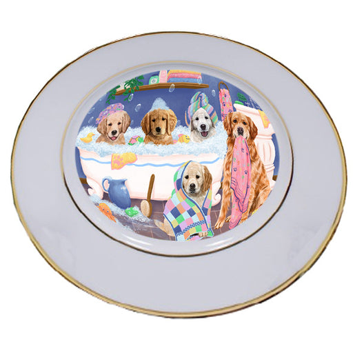 Rub A Dub Dogs In A Tub Golden Retrievers Dog Porcelain Plate PLT55139