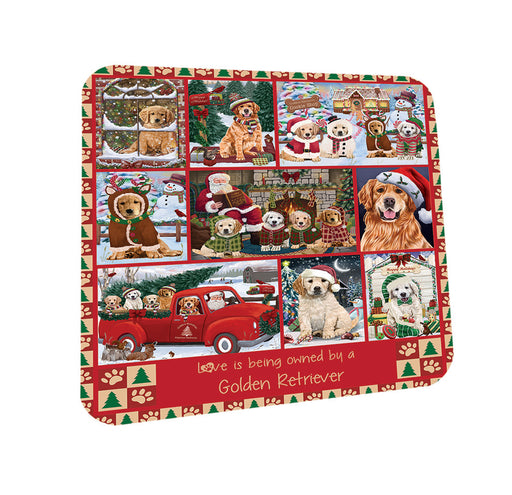 Love is Being Owned Christmas Golden Retriever Dogs Coasters Set of 4 CST57184