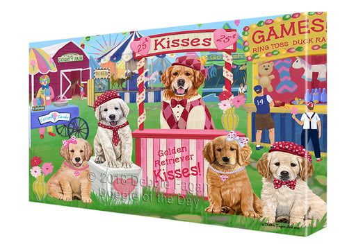 Carnival Kissing Booth Golden Retrievers Dog Canvas Print Wall Art Décor CVS124739