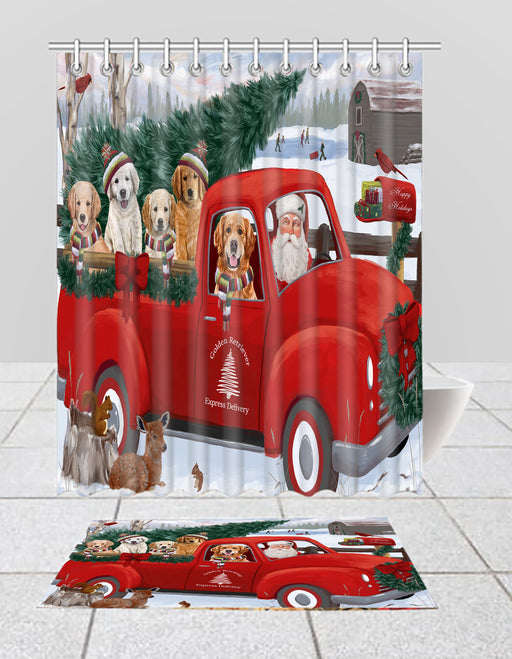 Christmas Santa Express Delivery Red Truck Golden Retriever Dogs Bath Mat and Shower Curtain Combo