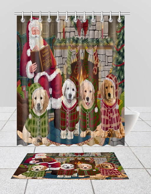 Christmas Cozy Holiday Fire Tails Golden Retriever Dogs Bath Mat and Shower Curtain Combo
