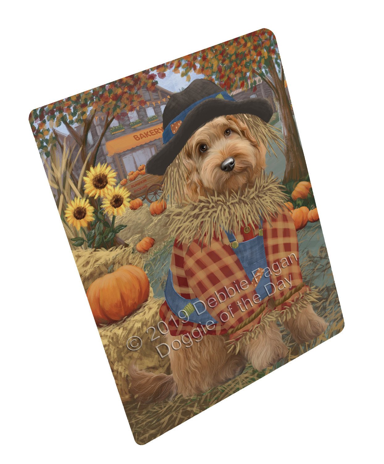 Halloween 'Round Town And Fall Pumpkin Scarecrow Both Goldendoodle Dogs Large Refrigerator / Dishwasher Magnet RMAG104790