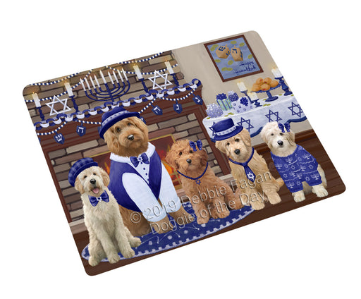Happy Hanukkah Family and Happy Hanukkah Both Goldendoodle Dogs Large Refrigerator / Dishwasher Magnet RMAG105492