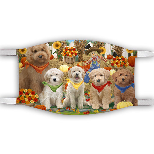 Fall Festive Harvest Time Gathering  Goldendoodle Dogs Face Mask FM48540