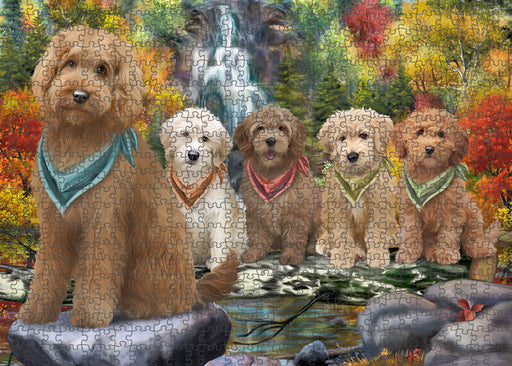 Scenic Waterfall Goldendoodles Dog Puzzle with Photo Tin PUZL59757
