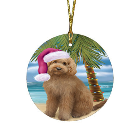Summertime Happy Holidays Christmas Goldendoodle Dog on Tropical Island Beach Round Flat Christmas Ornament RFPOR54547