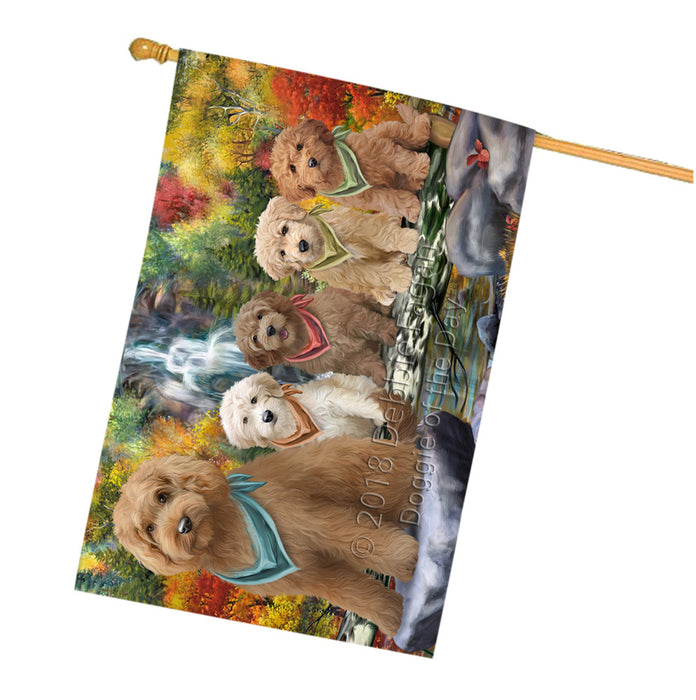Scenic Waterfall Goldendoodles Dog House Flag FLG52023