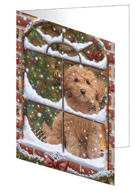 Please Come Home For Christmas Goldendoodle Dog Sitting In Window Note Card NCD64925
