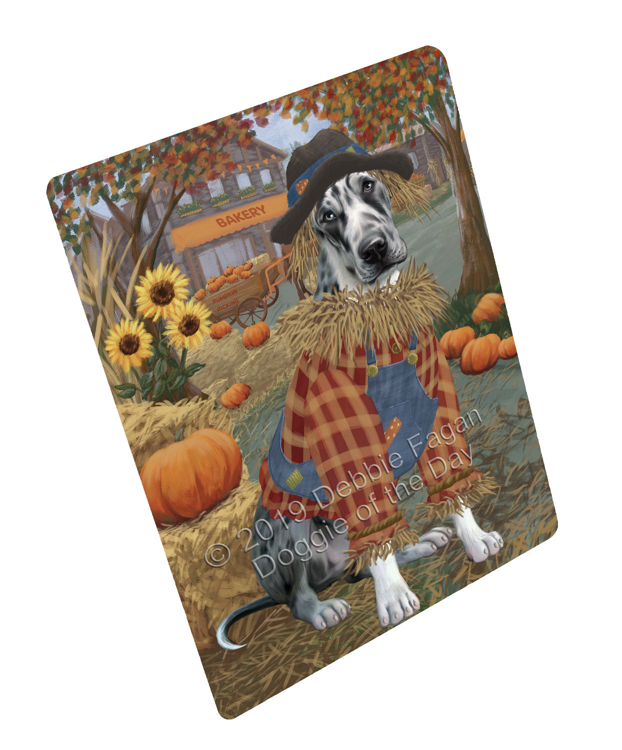 Halloween 'Round Town And Fall Pumpkin Scarecrow Both Great Dane Dogs Large Refrigerator / Dishwasher Magnet RMAG104796