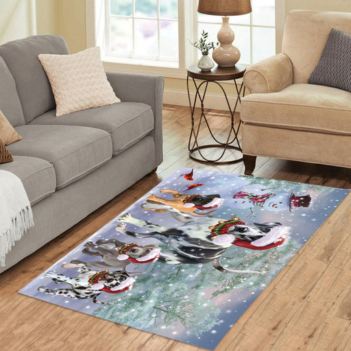 Christmas Running Fammily Great Dane Dogs Area Rug