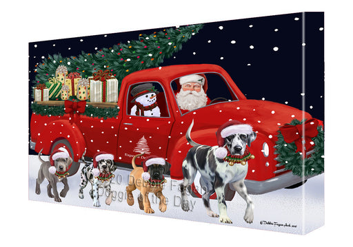 Christmas Express Delivery Red Truck Running Great Dane Dogs Canvas Print Wall Art Décor CVS146123