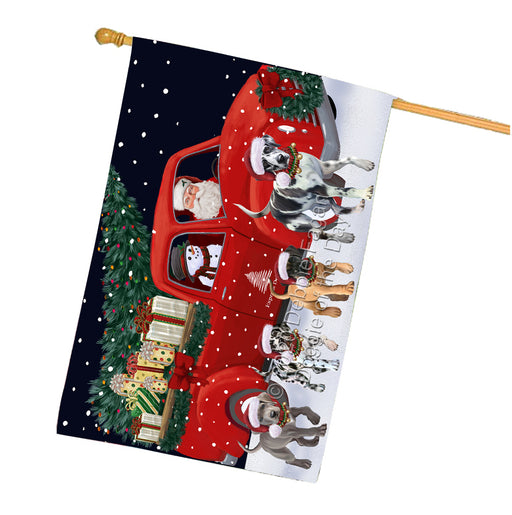 Christmas Express Delivery Red Truck Running Great Dane Dogs House Flag FLG66525