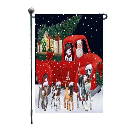 Christmas Express Delivery Red Truck Running Great Dane Dogs Garden Flag GFLG66469