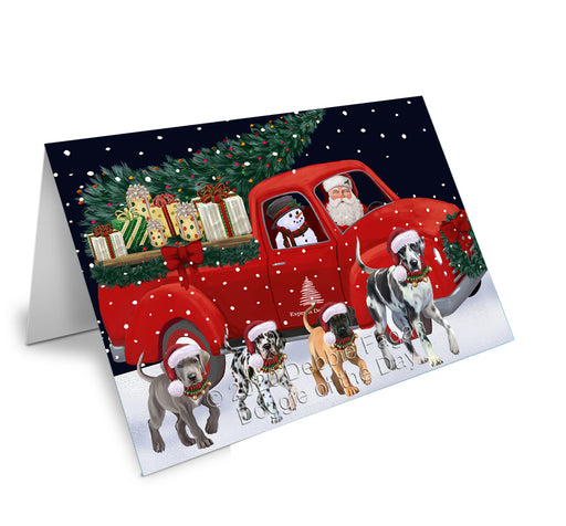 Christmas Express Delivery Red Truck Running Great Dane Dogs Greeting Card GCD75149