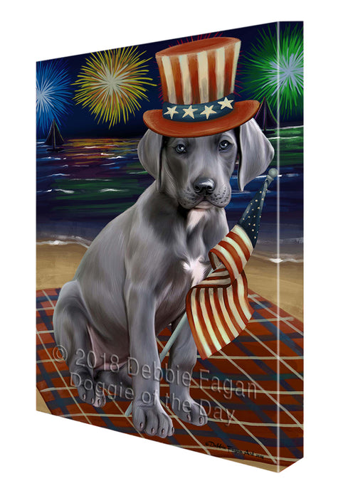 4th of July Independence Day Firework Great Dane Dog Canvas Wall Art CVS55848
