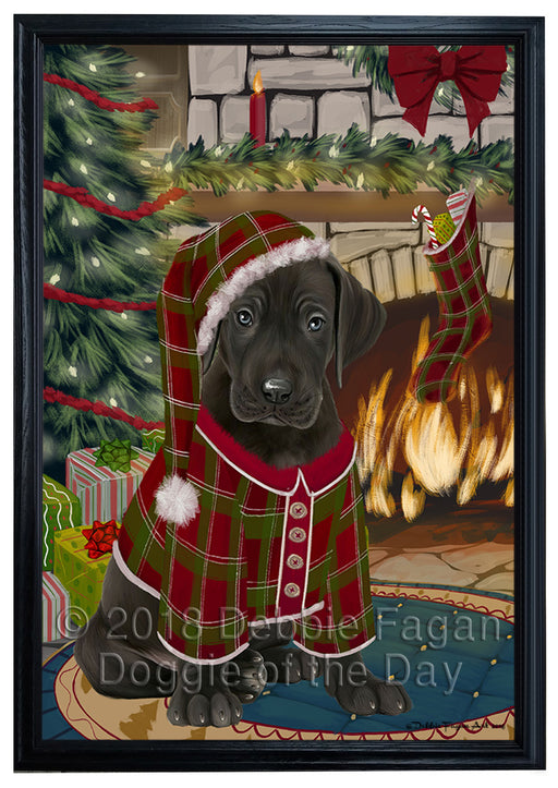 The Stocking was Hung Great Dane Dog Framed Canvas Print Wall Art FCVS177489