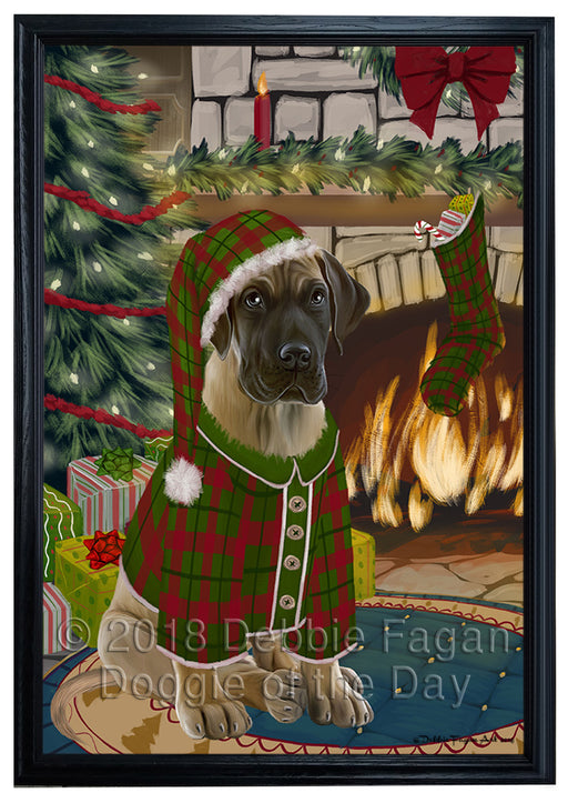 The Stocking was Hung Great Dane Dog Framed Canvas Print Wall Art FCVS177506