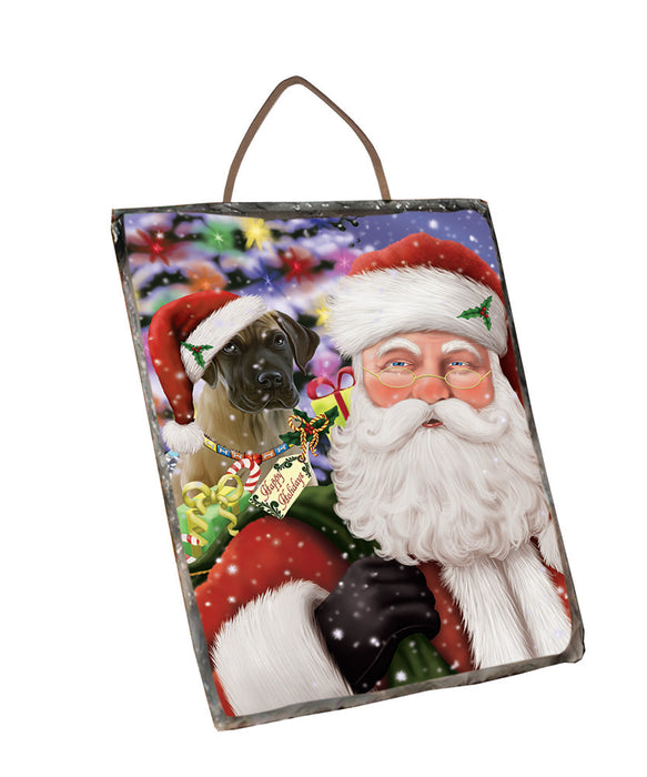 Santa Carrying Great Dane Dog and Christmas Presents Wall Décor Hanging Photo Slate SLTH57135