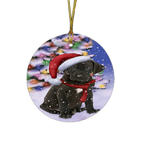 Winterland Wonderland Great Dane Dog In Christmas Holiday Scenic Background  Round Flat Christmas Ornament RFPOR53385