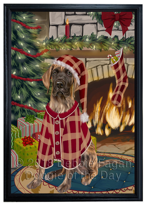 The Stocking was Hung Great Dane Dog Framed Canvas Print Wall Art FCVS177523