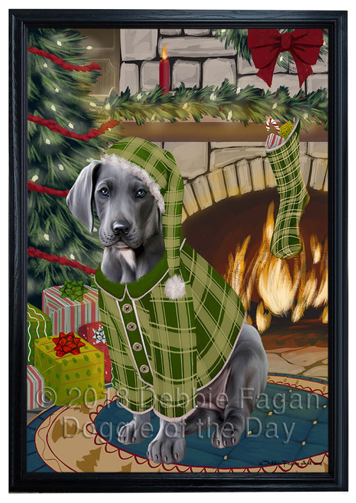The Stocking was Hung Great Dane Dog Framed Canvas Print Wall Art FCVS177540