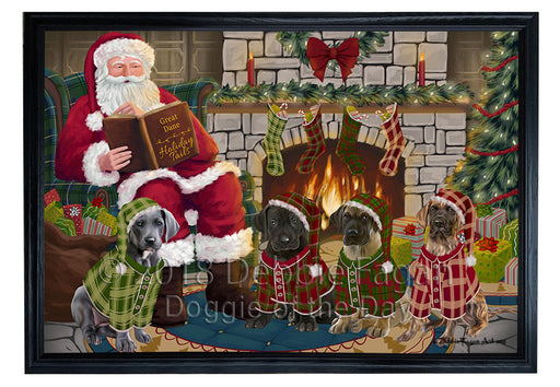 Christmas Cozy Holiday Tails Great Danes Dog Framed Canvas Print Wall Art FCVS174225