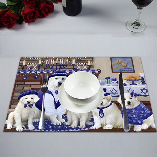 Happy Hanukkah Family Great Pyrenees Dogs Placemat