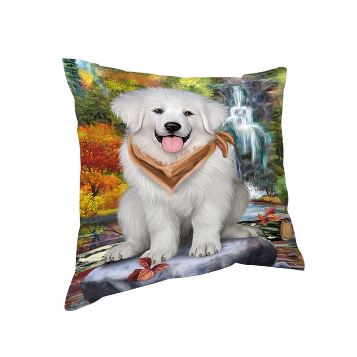 Scenic Waterfall Great Pyrenees Dog Pillow PIL56752
