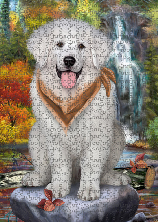 Scenic Waterfall Great Pyrenees Dog Puzzle with Photo Tin PUZL54378
