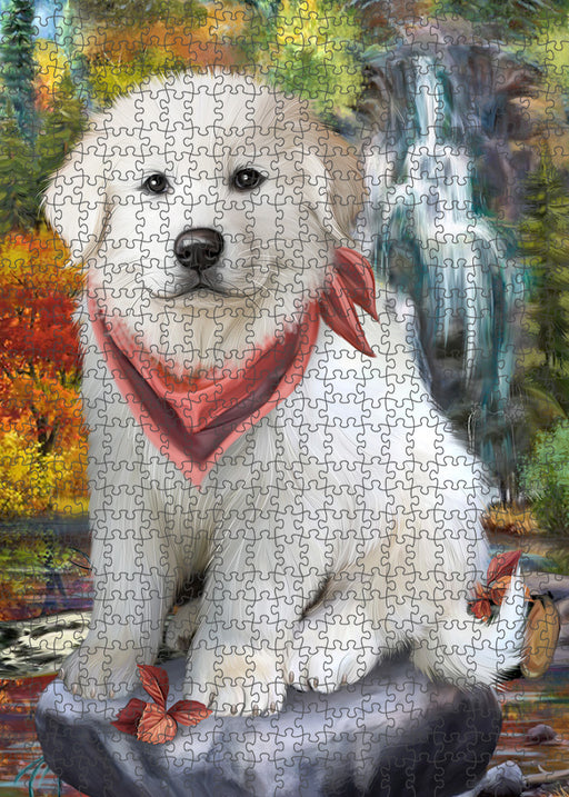 Scenic Waterfall Great Pyrenees Dog Puzzle with Photo Tin PUZL54381