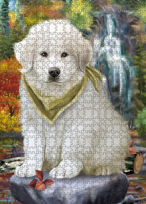 Scenic Waterfall Great Pyrenees Dog Puzzle with Photo Tin PUZL54384