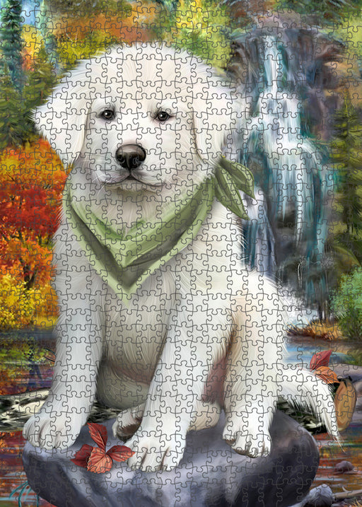 Scenic Waterfall Great Pyrenees Dog Puzzle with Photo Tin PUZL54387