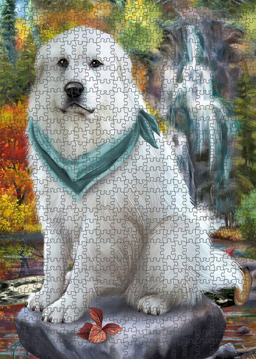 Scenic Waterfall Great Pyrenees Dog Puzzle with Photo Tin PUZL54390