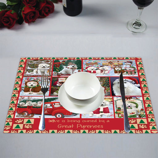 Love is Being Owned Christmas Great Pyrenee Dogs Placemat