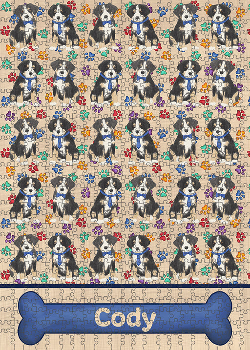 Rainbow Paw Print Greater Swiss Mountain Dogs Puzzle with Photo Tin PUZL97784