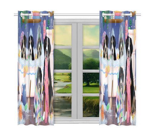 Rub A Dub Dogs In A Tub Greater Swiss Mountain Dogs Window Curtain