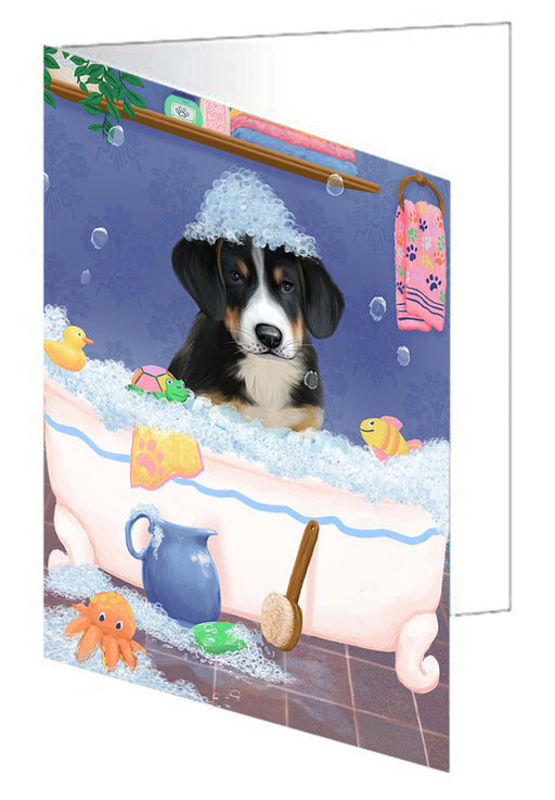 Rub A Dub Dog In A Tub Greater Swiss Mountain Dog Note Card NCD79454