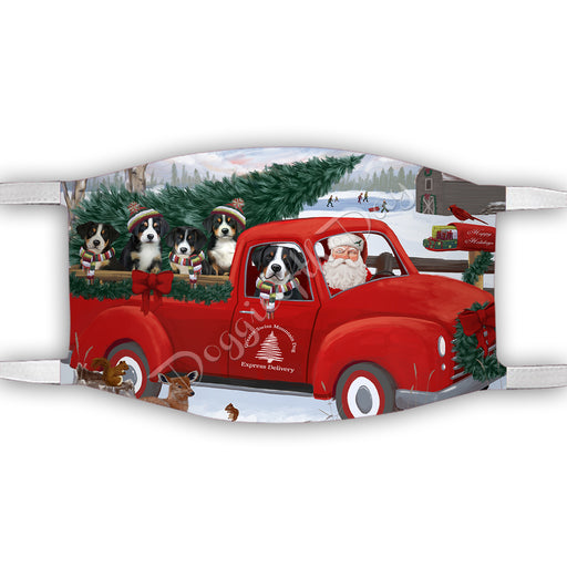 Christmas Santa Express Delivery Red Truck Greater Swiss Mountain Dogs Face Mask FM48446