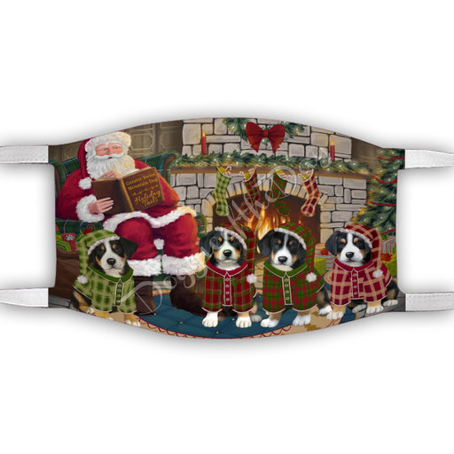 Christmas Cozy Holiday Fire Tails Greater Swiss Mountain Dogs Face Mask FM48640