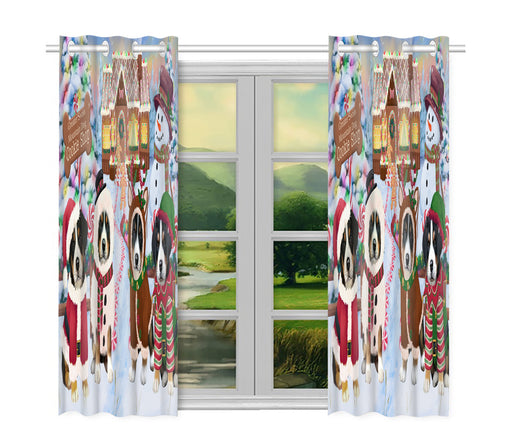 Holiday Gingerbread Cookie Greater Swiss Mountain Dogs Window Curtain