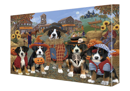 Halloween 'Round Town And Fall Pumpkin Scarecrow Both Greater Swiss Mountain Dogs Canvas Print Wall Art Décor CVS139607