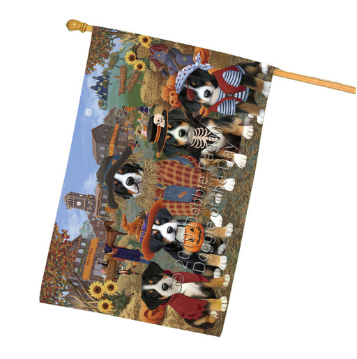 Halloween 'Round Town And Fall Pumpkin Scarecrow Both Greater Swiss Mountain Dogs House Flag FLG65658
