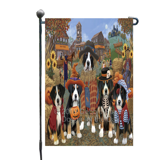Halloween 'Round Town And Fall Pumpkin Scarecrow Both Greater Swiss Mountain Dogs Garden Flag GFLG65602
